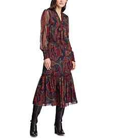 Paisley-Print Tie-Neck Georgette Dress