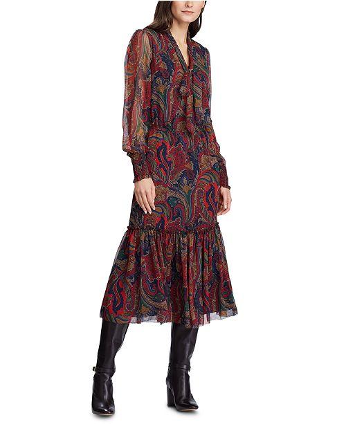 Lauren Ralph Lauren Paisley-Print Tie-Neck Georgette Dress