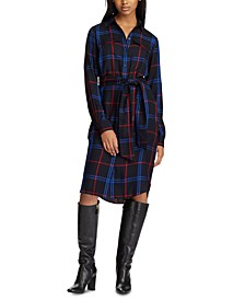 Plaid-Print Belted Shirtdress