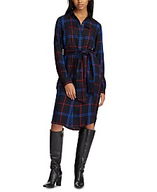 Lauren Ralph Lauren Plaid-Print Belted Shirtdress