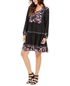 Petite Printed Mesh Peasant Dress, Created for Macy's