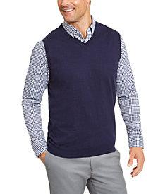 Club Room Men's Regular-Fit V-Neck Sweater Vest, Created for Macy's