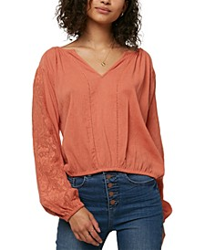 Juniors' Lariviere Cotton Lace-Inset Top