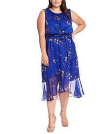 Vince Camuto Plus Size Sleeveless Printed Belted Dress