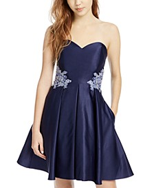 Juniors' Floral-Appliqué Strapless Fit & Flare Dress