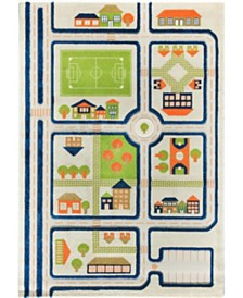 "IVI Traffic 3D Childrens Play Mat & Rug in A Colorful Town Design with Soccer Field, Car Park & Roads - 90""L x 63""W"