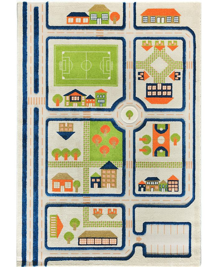 """IVI - Traffic Blue 3D Childrens Play Mat & Rug in A Colorful Town Design with Soccer Field, Car Park&Roads,  90""""L x 63""""W"""