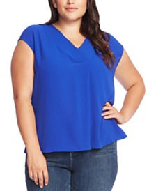Vince Camuto Plus Size Cap-Sleeve V-Neck Top
