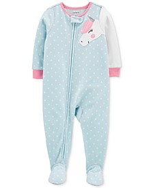 Toddler Girls Footed Unicorn Pajamas