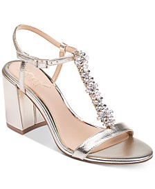 Jewel Badgley Mischka Raina Embellished T-Strap Evening Sandals