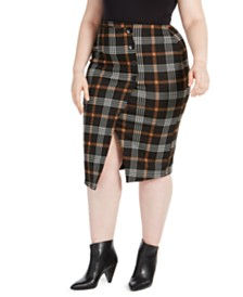 Planet Gold Trendy Plus Size Plaid Asymmetrical Skirt
