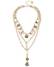 Betsey Johnson Gold-Tone Stone Bug & Flower Charm Layered Necklace