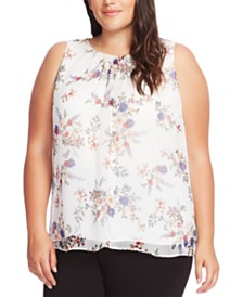 Vince Camuto Plus Size Floral-Print Sleeveless Top