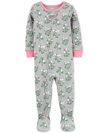 Carter's Baby Girls Cotton Footed Floral Pajamas