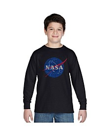 Boy's Word Art Long Sleeve T-Shirt - NASA's Most Notable Missions