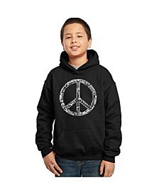 Boy's Word Art Hoodies - The Word Peace in 77 Languages