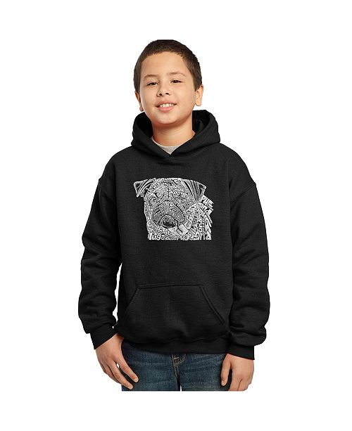 LA Pop Art Boy's Word Art Hoodies - Pug Face