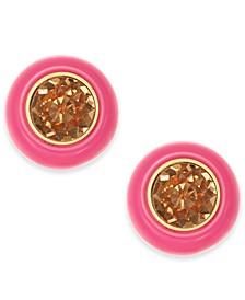 Gold-Tone Crystal & Resin Stud Earrings