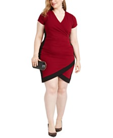 Almost Famous Trendy Plus Size Faux-Wrap Dress