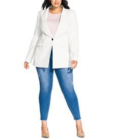 City Chic Trendy Plus Size Pinstripe Jacket
