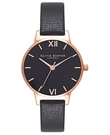 Women's Black Leather Strap Watch 30mm