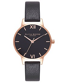 Olivia Burton Women's Black Leather Strap Watch 30mm