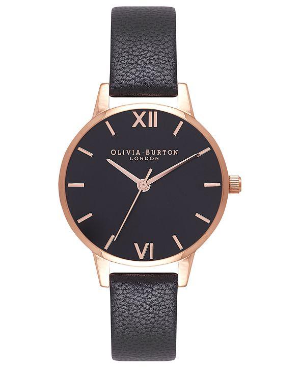 Olivia Burton Women's Black Leather Strap Watch 30mm