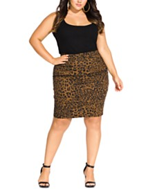 City Chic Trendy Plus Size Animal-Print Denim Skirt