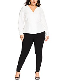 Trendy Plus Size Faux-Wrap Peplum Top
