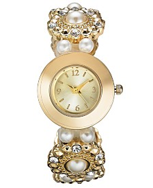 Charter Club Women's Gold-Tone Elastic Bracelet Watch 27mm, Created For Macy's