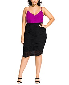Trendy Plus Size Ruched Skirt