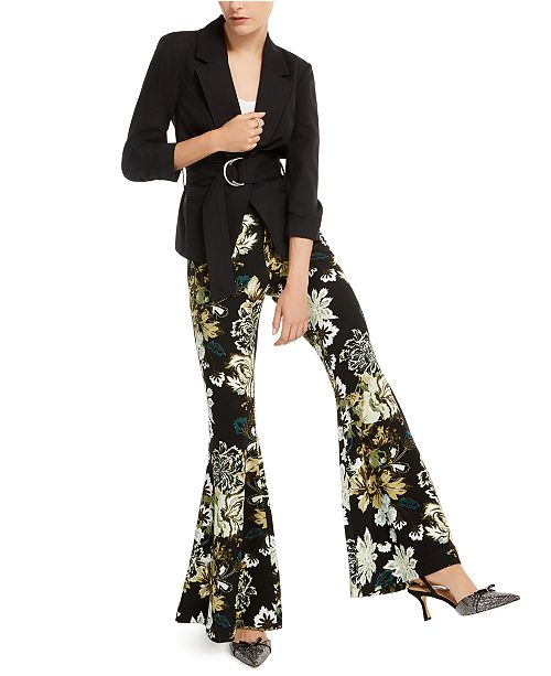 INC International Concepts INC Belted Jacket & Printed Flare-Leg Pants, Created for Macy's
