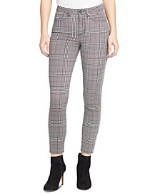 Sculpted Plaid Ankle Skinny Jeans