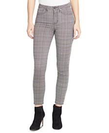 WILLIAM RAST Sculpted Plaid Ankle Skinny Jeans