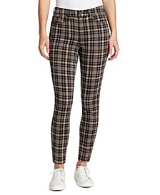 Plaid Slim Straight Jeans