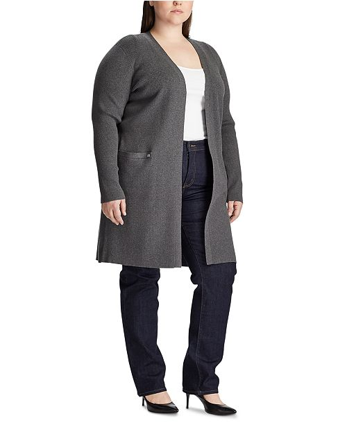 Lauren Ralph Lauren Plus Size Ribbed Long Cardigan