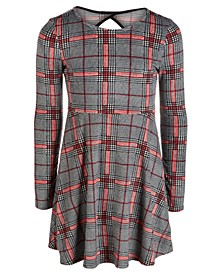 Big Girls Plaid Velvet Cut Out Dress, Created for Macy's