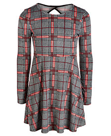 Epic Threads Big Girls Plaid Velvet Cut Out Dress, Created for Macy's