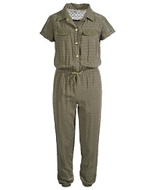 Epic Threads Big Girls Swiss-Dot Jumpsuit, Created For Macy's