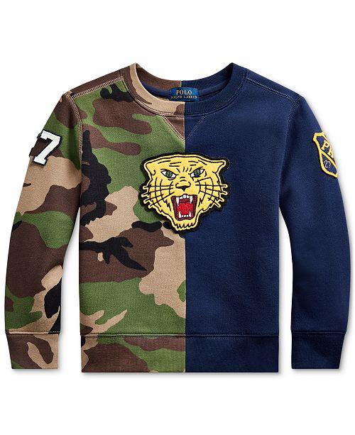 Polo Ralph Lauren Toddler Boys Fleece Tiger Half-Camo Knit Sweatshirt