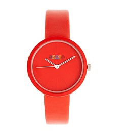 Unisex Blade Red Leatherette Strap Watch 37mm