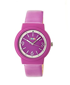 Unisex Vivid Fuchsia Leatherette Strap Watch 36mm