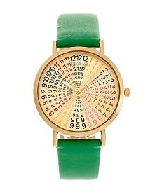 Crayo Unisex Fortune Green Genuine Leather Strap Watch 38mm