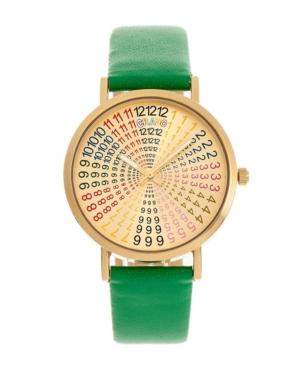 Unisex Fortune Green Genuine Leather Strap Watch 38mm