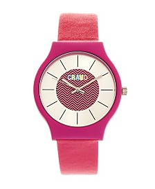 Crayo Unisex Trinity Hot Pink Leatherette Strap Watch 36mm