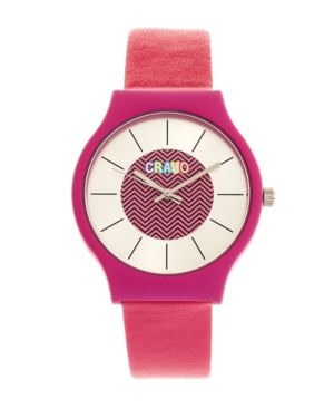 Unisex Trinity Hot Pink Leatherette Strap Watch 36mm