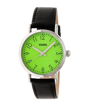 Unisex Pride Black Genuine Leather Strap Watch 36mm