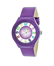 Unisex Atomic Purple Genuine Leather Strap Watch 36mm