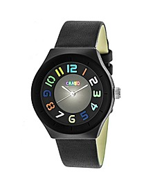 Unisex Atomic Black Genuine Leather Strap Watch 36mm