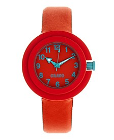 Unisex Equinox Red, Cerulean Leatherette Strap Watch 40mm